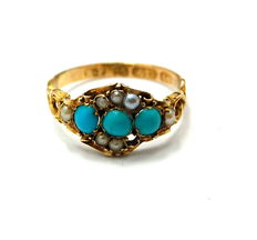 15ct gold Early Victorian pearl and turquoise around 1900