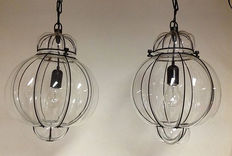 Two Venetian blown glass ceiling lamps - 2nd half 20th century