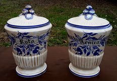 "Pair of glazed white ceramic pharmacy jars-branded ""Royal"" Manifattura d'Este, Veneto, Italy mid-20th century"