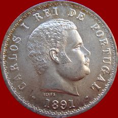 Monarchy of Portugal - D Carlos I (1889-1908) – 500 Réis – 1891 – Silver