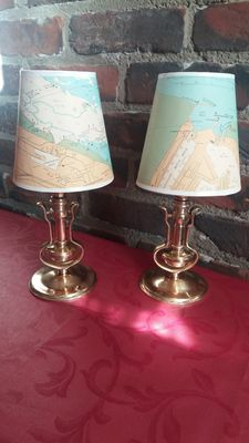 2 antique lamps from a boat with pendulum ca 1930 - bronze