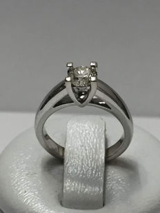 Solitaire ring in white gold with 0.45 ct diamond – Ring size approx. 45/14.26 mm