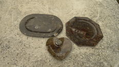 Bowls of fossil marble (3) - 20,0 cm, 22.0 x 15,5 cm and 11.0 x 10,0 cm - 1,0 kg