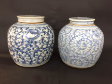 Pair of porcelain blue white storage jugs - China - 19th century