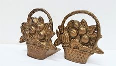 Copper bookends in form of a flower basket
