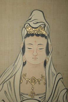 "Antique scroll painting ""White robed Kannon"" signed/seal Eiho - Japan - first half 19th century"