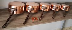 Five copper - stainless steel pans, tinned massive copper, Bi - Metal, factory Lecellier Villedieu, Made in France (cooper stainless - steel), thickness 3 mm.