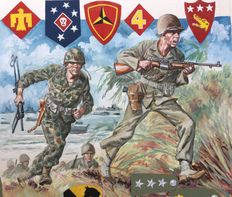 "Funcken - original gouache illustration (p.143) for ""Les Uniformes & Armes vol. 3 - Guerre 1939-4"" - (1974)"