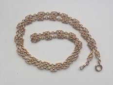 18 kt gold pocket watch chain, fantsy link with lobster clasp
