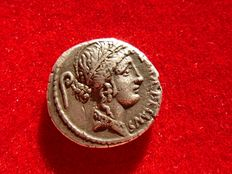 Roman Republic - C Servilius C. f. silver denarius (4,00 g. 18 mm.) minted in Rome in 57 B.C. Two warriors face to face with their weapons.