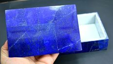 Handmade Lapis Lazuli Jewelry Box with Marble for Rings & Loose gemstones Docarative - 735 gram , 150*100*37 mm