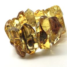 Wide bracelet of Natural Baltic amber (not treated) – thick slices 33-40 mm in length