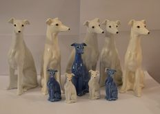 Ten porcelain greyhound figurines. - 2nd half of the 20th century,