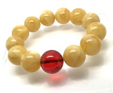 Amber bracelet egg yolk and cherry color, 36 grams