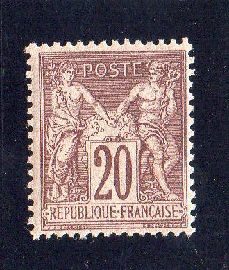 France 1876 – Sage Type I N/B – 20c brown-lilac – Yvert n°67