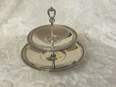 2 tier Fruit/cakestand in silver 800/1000, mid 20th century.