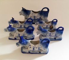 "Collection of six porcelain monochrome Cowcreamers ""Delft"", first half of the 20th century, Delft"