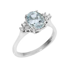Witgouden ring met aquamarijn (0,85 ct) en diamanten (0,18 ct, G VVS)