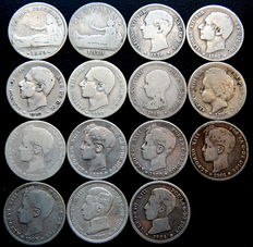 Spain – Provisional Government, Alfonso XII and Alfonso XIII – 15 silver coins of one peseta – 1869 to 1904