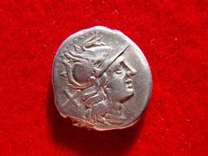 Roman Republic - Anonymous silver denarius (3.85 g. 18 mm.) Rome mint, 194-190 B.C. Crescent series.