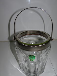 Ice bucket made from baccarat crystal and silver plated metal