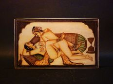 Polychromatic miniature on thin layer of ivory – Kama Sutra – India – 1920.