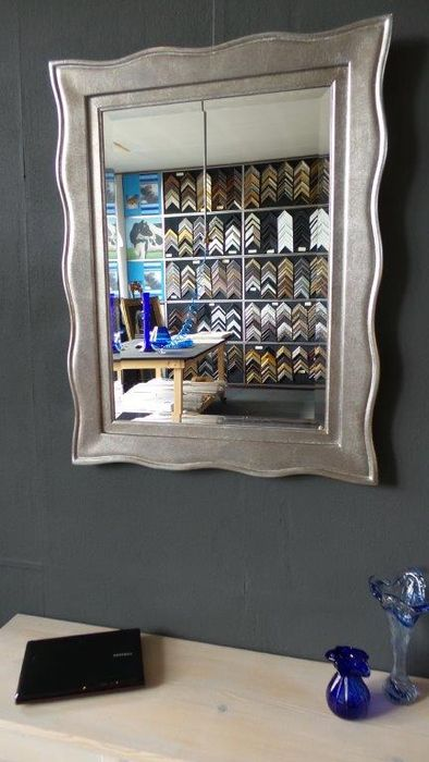 italian mirror hand gilded antique silver facet cut glass catawiki. Black Bedroom Furniture Sets. Home Design Ideas