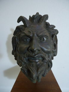 Antique bronze statue of a satyr's head - Baroque - 17th/18th century