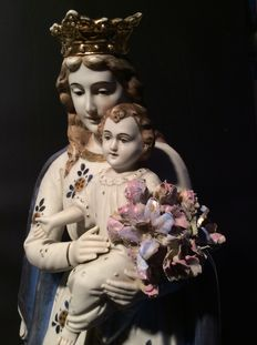 Crowned Mary statue with child and flowers - biscuit - 1 half 20th century