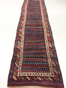 Antique Kurdish runner rug (in all natural colours), 420 x 105 cm