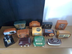 Collection of 13 vintage radios in miniature (representations of historic models)