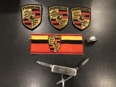 Porsche Lot of original fabric badges, Swiss army knife, napkin block