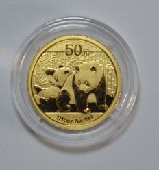 "China – 50 Yuan 2010 ""Panda"" – 1/10 oz - gold"