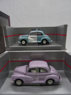 Minichamps - Scale 1/18 - Lot with 2 Morris Minor models