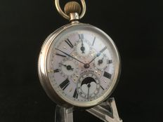 Swiss calendar pocket watch with moon phase, around 1900