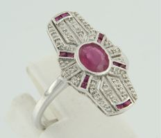 14 kt white gold ring with 13 rubies and 40 diamonds, ring size 17.25 (54)