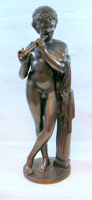 """Patinated bronze sculpture """"boy with flute"""" 65 cm-second half of 20th century"""