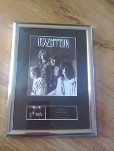 Led Zeppelin framed signed (printed) photograph display.