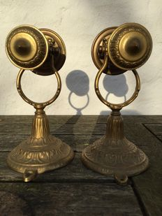 2 x Very beautiful, heavy and antique copper Louis XIV style, ship's candlesticks, late 19th early 20th century.