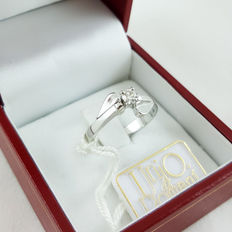 18 kt white gold solitaire ring with 0.16 ct diamond, colour: G, clarity: VVS ***No reserve price***