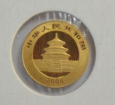 "China – 20 Yuan 2006 ""Panda"" 1/20 oz – gold"