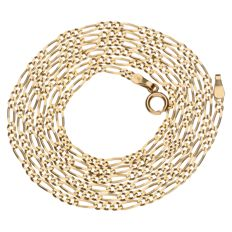 Yellow gold figaro link necklace