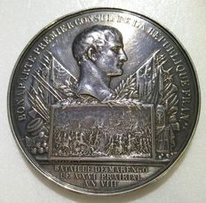 """France - Napoleon (as First Consul) - Silver Medal """"Battle of Marengo"""" Year VIII (1800)"""