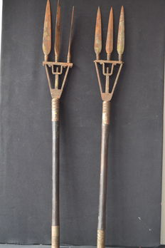 Antique tribal pair of forks , wood / iron - Mozambique , Africa Ca.1900