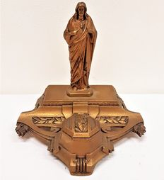 Copper inkwell with jesus - Belgium - Ca. 1930