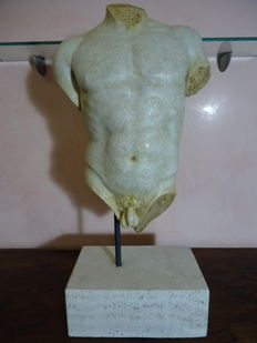 Antique marble sculpture depicting a male torso - 18th/19th century