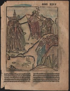 Master of Delft; Ludolphus de Saxonia - Incunabula woodcut leaf from Vitae Christie - The glorified Christ appears to His disciples - 1488