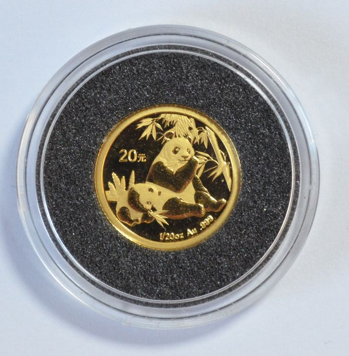 China - 20 Yuan 2007 'Panda' - 1/20 oz - gold