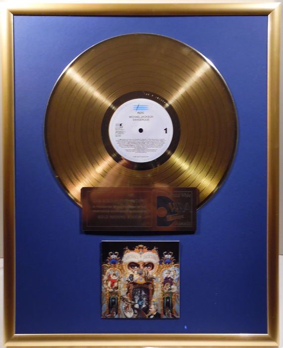 "Michael Jackson - Dangerous - 12"" german Epic gold plated record by WWA Awards"