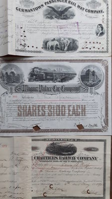 USA, 3 Railway items dated 1892:Germantown Passenger RW Co., Wagner Palace Car Co. and The Chartiers RW Company.    Relevant signatures!